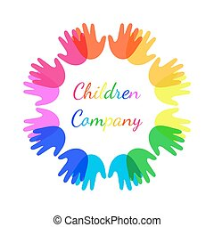 Bright colour children hands together in shape of circle.