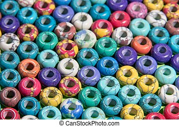 Bright colourful ceramic beads - Full frame of bright...