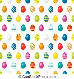 Bright colourful easter eggs on white, seamless pattern