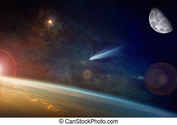 Bright comet approaching to planet Earth in space