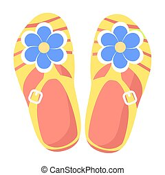 Bright Comfortable Slippers Isolated Illustration