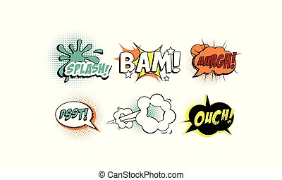 Bright comic speech bubbles set, text sound effects vector Illustration on a white background