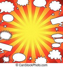 Bright comics speech bubbles frame background vector