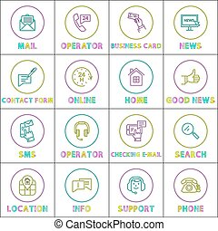 Bright Communication and Internet Linear Round Icons Set