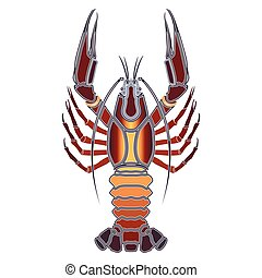 Bright crawfish, zodiac Cancer sign - Bright colorful...