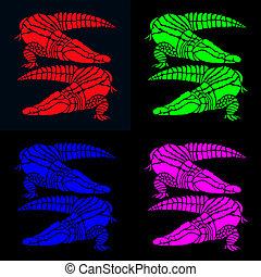 bright crocodiles on black - vibrant pairs of crocodiles in...
