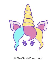 Bright cute unicorn for a card or t-shirt. Vector illustration