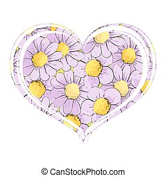 Bright daisies in the form of a heart