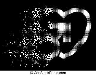 Bright Damaged Dot Halftone Male Love Icon