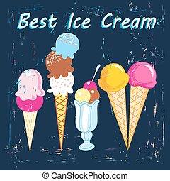ice cream - bright delicious ice cream on a dark blue ...