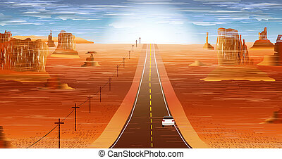 Bright desert landscape in orange color. Concept of advertising signs, posters, banners. Desert Road Journey. Fantastic background - shine of the sun, rocks, mountains and road