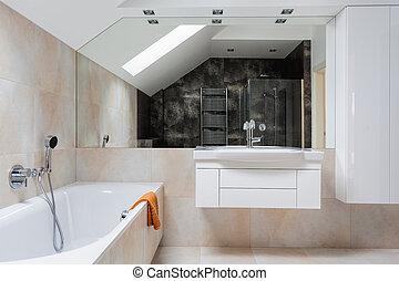 Bright design bathroom furniture and huge mirror
