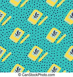 Bright diary book ornament seamless pattern. Yellow doodle notebook elements on blue dotted background.