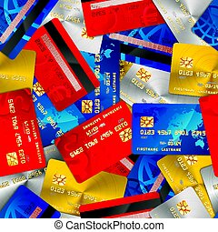 Bright different credit cards, financial seamless pattern