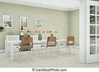 Bright dining room interior design in modern appartment
