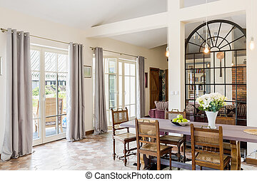 Bright dinning area with large table