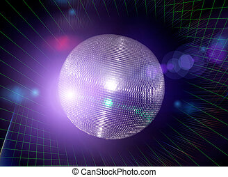 disco ball - Bright disco ball against  a laser beams