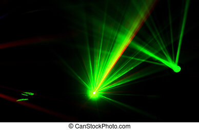 Bright disco lights and lasers