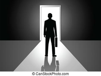 Bright Door - Vector illustration of a man walking into a...