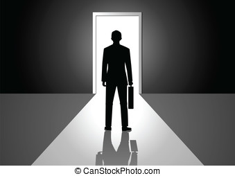 Bright Door - Vector illustration of a man walking into a...