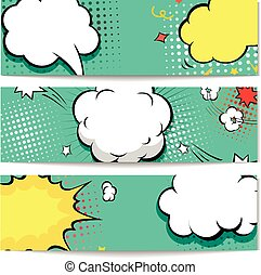 Bright dotted comic book style header set. Vector illustration