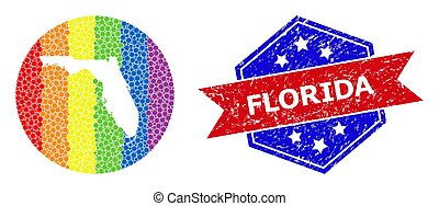 Bright Dotted Map of Florida State Collage with Hole for LGBT and Scratched Bicolor Badge