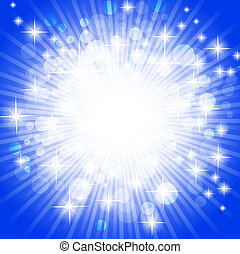 bright abstract explosion over blue, copyspace