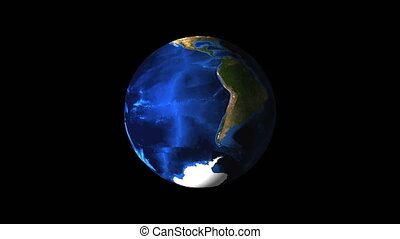 Bright Earth globe in the dark empty space, 3d render background, computer generated backdrop