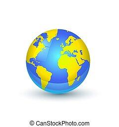Bright earth globe on white background