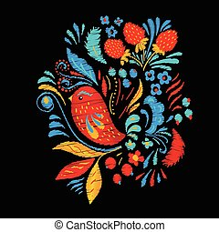 Bright embroidery with flowers, berrias and bird. Tshirt or...