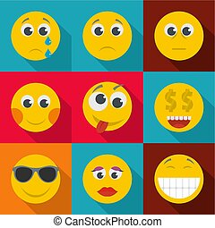 Bright emotion icons set, flat style
