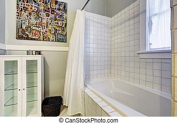 Bright empty bathroom interior