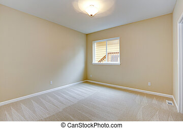 Bright Empty Bedroom In Light Ivory Tone With Carpet Floor And Small