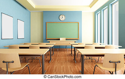 Bright empty classroom without student with wooden furniture -rendering