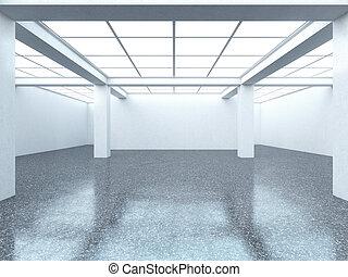 Bright empty gallery interior with dark floor