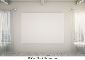 Bright empty interior with blank picture frame, mock up