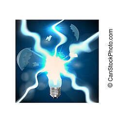 explosion of light bulbs