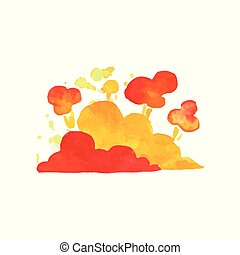Bright explosive cloud in red and orange colors. Colorful...