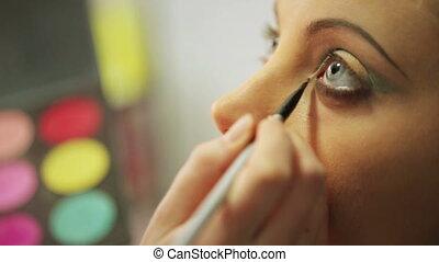 Bright eye make-up closeup