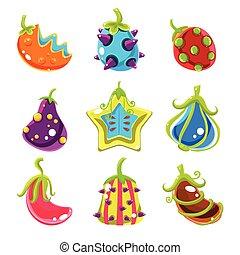 Bright Fantasy Fruits, Vector Illustration - Bright Glossy...