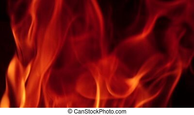 Bright fascinating flame of fire burning on background of...