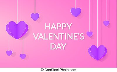 Bright festive background with paper hearts