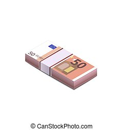 Bright fifty euro banknotes in stack in isometric view, pile notes on white