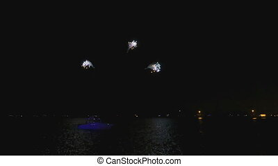 Bright Fireworks at Michigan Lake