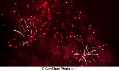 Bright Fireworks Rockets at Night - Pyrotechnics in...