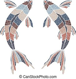 Bright fishes, zodiac Pisces sign