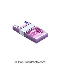 Bright five hundred euro banknotes in stack in isometric view, pile notes on white