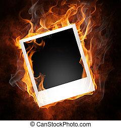 flamy symbol - bright flamy symbol on the black background