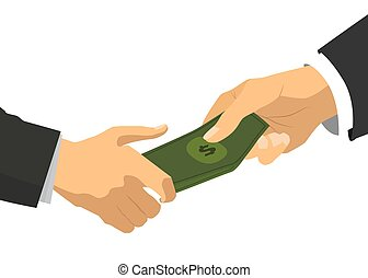 Bright flat businessman hand taking the bunch on banknotes with dollar signs, corruption concept illustration on white