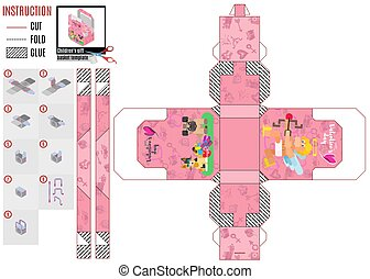 bright flat style box template with animals and cupid